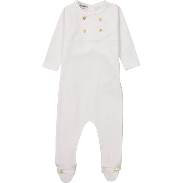 Les Lutin Gold Buttons White Footie