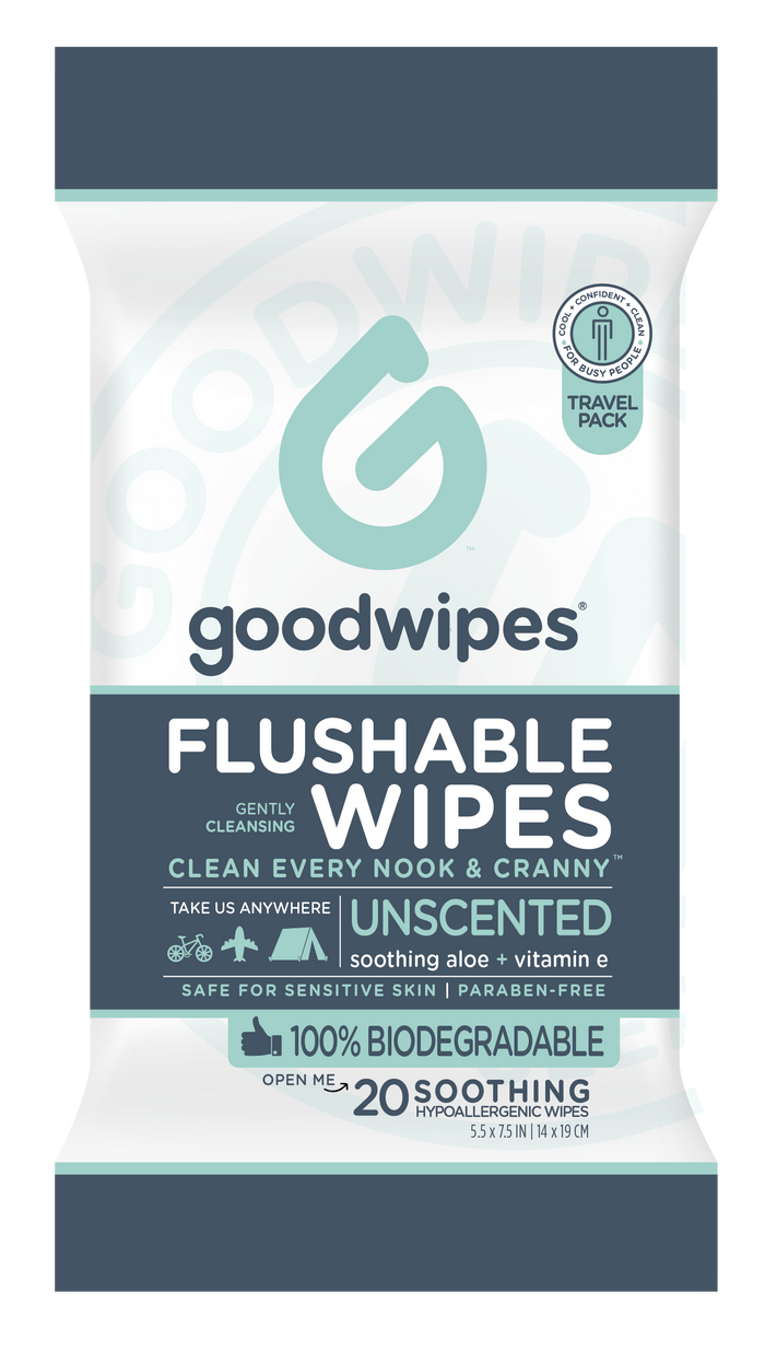Flushable Wipes Travel Pack - 20CT