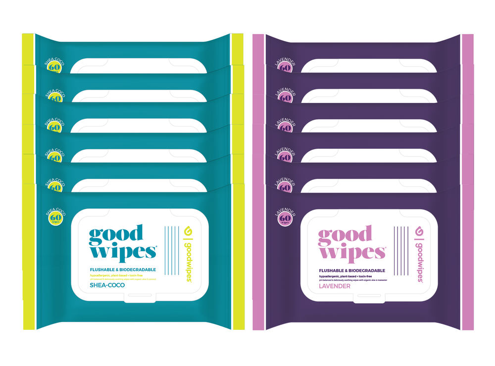 Goodwipes Flushable Wipes - Value Pack - 12 Count - 60 Count Resealable Dispensers - Shea-Coco + Lavender