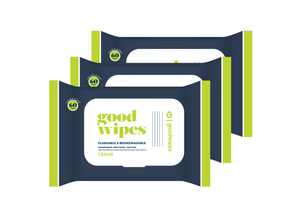 Goodwipes Flushable Wipes - Cedar - 60CT Re-Sealable Dispenser - Pack of 3