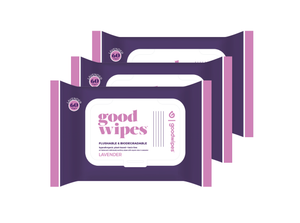 Goodwipes Flushable Wipes - Lavender - 60 CT Resealable Dispenser - Pack of 3