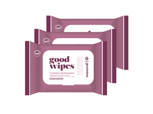 Goodwipes Flushable Wipes - Rosewater - 60 CT Resealable Dispenser - Pack of 3