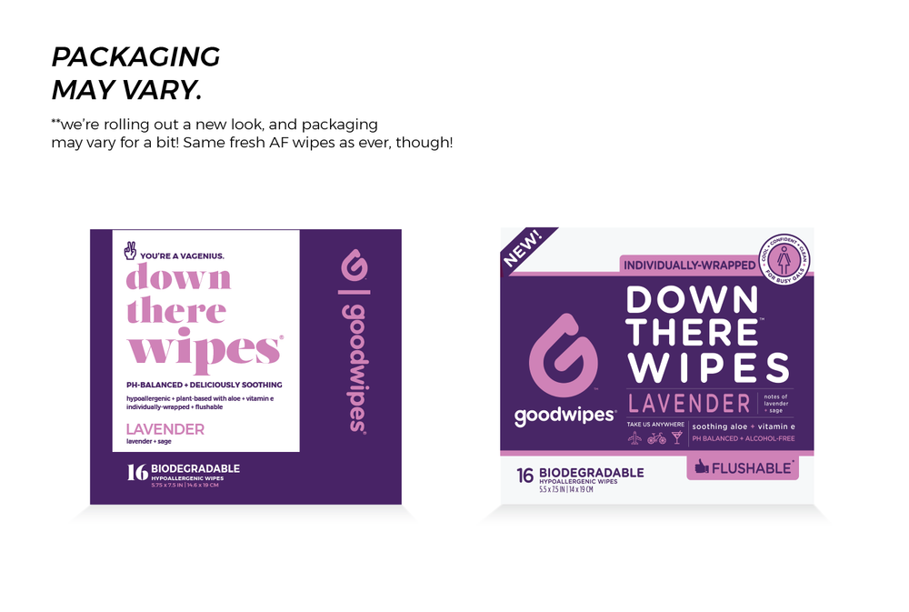 Down There Wipes - Lavender - 16 CT Singles - Pack of 4