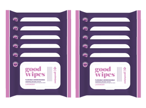 Goodwipes Flushable Wipes - Value Pack - 60 Count Resealable Dispensers - Lavender
