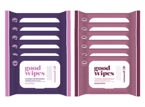 Goodwipes Flushable Wipes - Value Pack - 12 Count - 60 Count Resealable Dispensers - Rosewater + Lavender