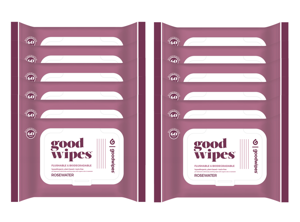 Load image into Gallery viewer, Goodwipes Flushable Wipes - Value Pack - 12 Count - 60 Count Resealable Dispensers - Rosewater