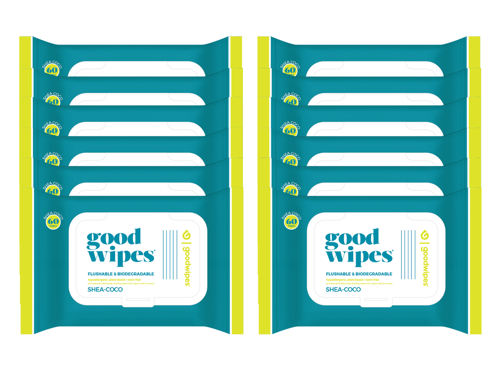 Goodwipes Flushable Wipes - Value Pack - 60 Count Resealable Dispensers - Shea-Coco