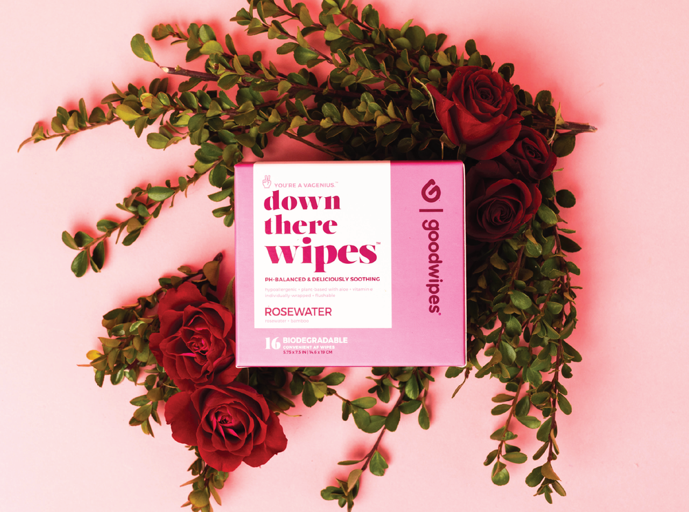 Down There Wipes - Rosewater - 16 CT Singles - Pack of 4