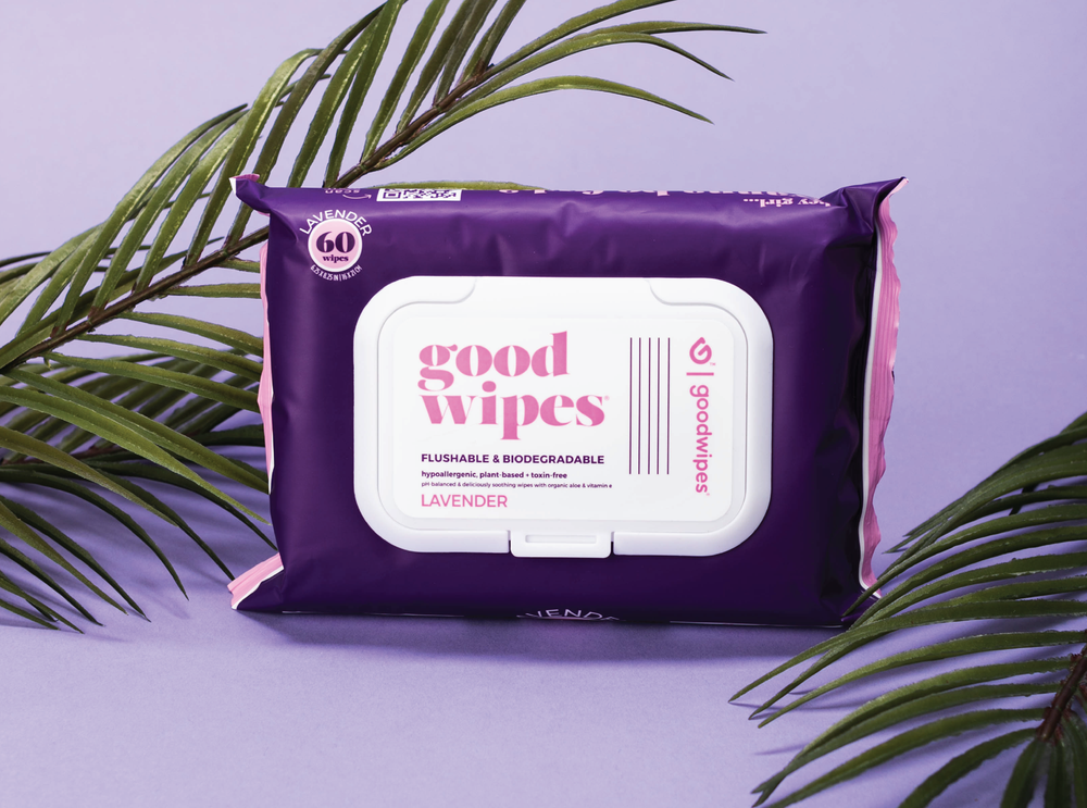 Goodwipes Flushable Wipes - Lavender - 60CT Resealable Dispenser Pack