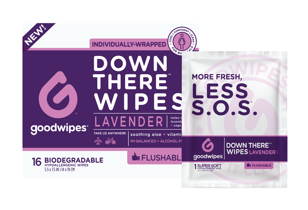 Down There Wipes for Gals - Lavender - 16 CT Singles - Pack of 4