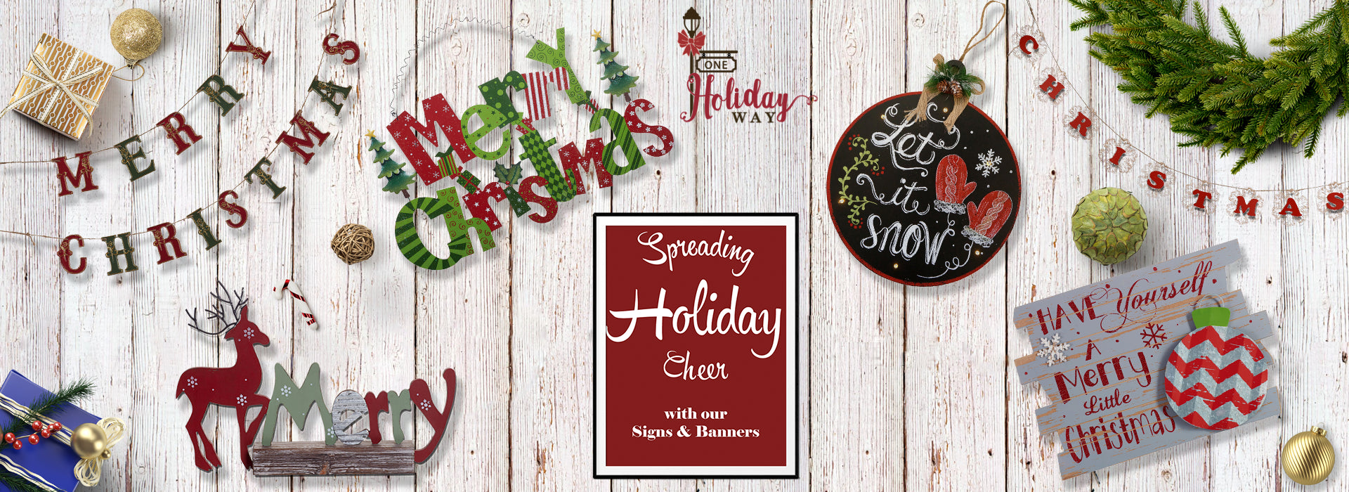 Christmas Signs Banners Holiday Wall Art One Holiday Way