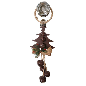 14 Inch Rustic Metal and Burlap Holiday Door Knob Hanger with 4 Jingle Bells - 2 variants