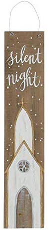 Rustic Church Wood Plank Silent Night Wall Sign – Christmas Indoor Home Decor – Hanging Holiday Front Door Decoration