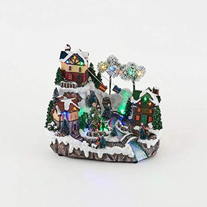 Animated Christmas Village Alpine Ski Town with Lights and Music - Animated Holiday Decoration