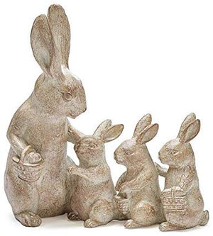 Rustic Spring Bunny Family Figurine – Tabletop Easter Decoration