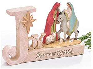 Elegant Christmas Nativity Scene with Joy to The World Holiday Message - Christian Home Decor – Religious Tabletop Sign