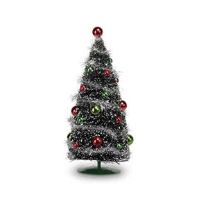 12.5 Inch Festive Bottlebrush Desktop Christmas Tree with Ornaments - Tabletop Holiday Decoration