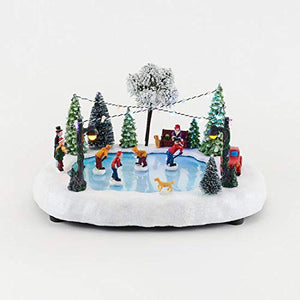 Animated Christmas Village Skating Rink with Lights and Music - Animated Holiday Decoration