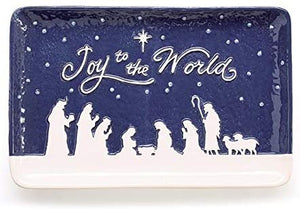 Blue and White Joy to The World Nativity Tray Ceramic Christmas Plate Holiday Tableware Decoration – Religious Christian Home Decor