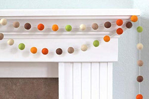 Orchid & Ivy 8 Foot Autumn Colors Wool Felt Ball Pom Pom Garland - Fall Garland Decoration