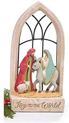 Rustic Church Window Nativity Joy to The World Decoration – Christian Christmas Home Decor – Religious Tabletop Holiday Sign