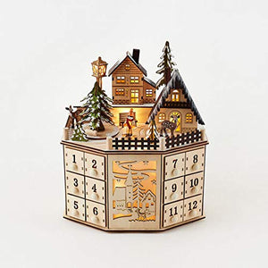 LED Lighted Wooden Bavarian Village Octagonal Advent Calendar - Christmas Decoration 24 Storage Drawers