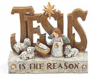 Sculpted Nativity Scene Figures with Christmas Messages - Tabletop Holiday Decorations