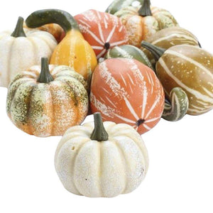 Artificial Gourds and Pumpkins Assorted Fall Table Decoration, 12 Piece Set
