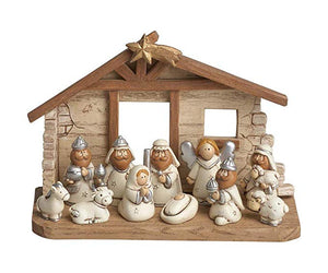 Miniature Kids White Christmas Nativity Scene with Creche, Set of 12 Figures