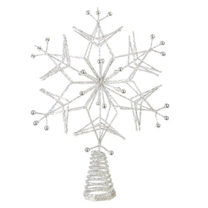 Glittered Silver Snowflake Treetop Decoration - Christmas Tree Topper Holiday Ornament