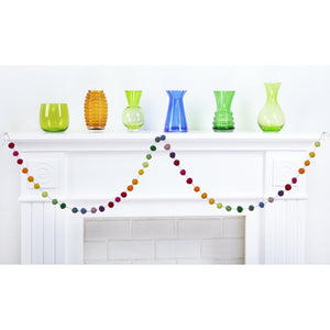 8 Foot Rainbow Colors Wool Felt Ball Pom Pom Garland - Christmas Tree Garland Holiday Decoration