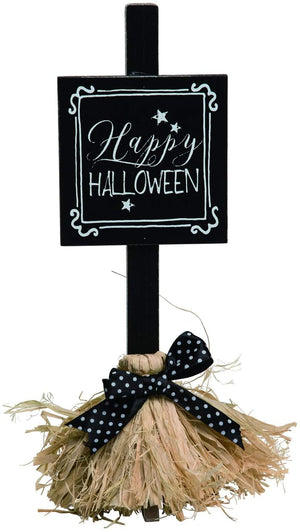Whimsical Witch Broom Halloween Sign – Tabletop Halloween Decoration (Happy Halloween)