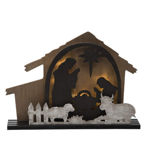 Lighted Rustic Christmas Nativity Scene Creche - Tabletop Holiday Decoration