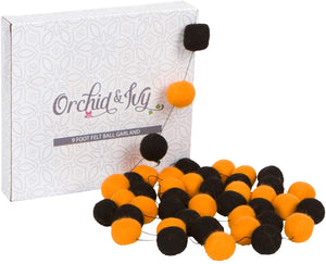 Orchid & Ivy 8 Foot Black and Orange Wool Felt Ball Pom Pom Garland - Halloween Garland Decoration