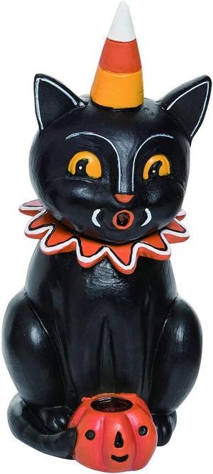 Vintage Halloween Black Cat Figurine – Tabletop Halloween Decoration (Crouching)