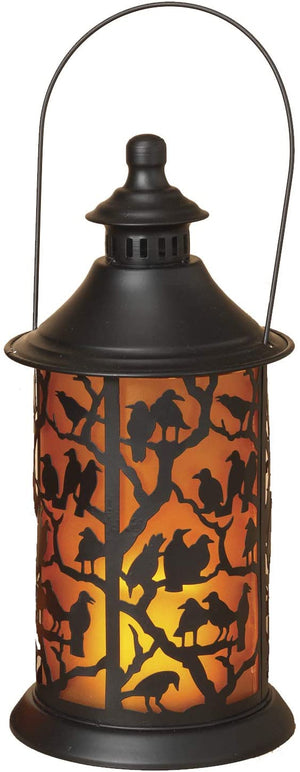 LED Lighted Halloween Lantern with Spooky Silhouette – Hanging Halloween Decoration (Bird)