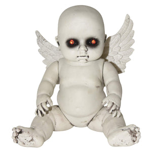 Creepy Light Up Haunted Angel Baby Doll – Tabletop Halloween Decoration