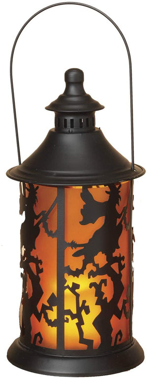 LED Lighted Halloween Lantern with Spooky Silhouette – Hanging Halloween Decoration (Witch)