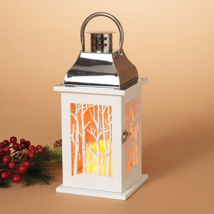 White Christmas Lantern with Winter Woods Scene and LED Candle with Timer - Tabletop Holiday Decoration