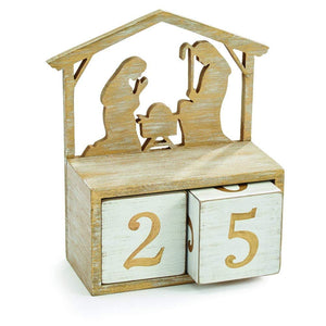 Christmas Nativity Wood Block Perpetual Calendar with Holy Family - Tabletop Holiday Decoration