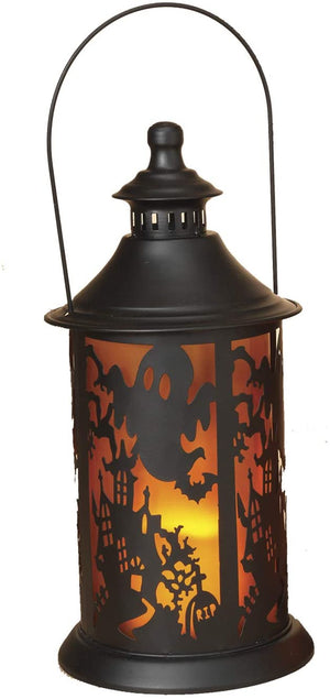 LED Lighted Halloween Lantern with Spooky Silhouette – Hanging Halloween Decoration (Ghost)