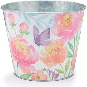 6-inch Floral Galvanized Metal Tin Plant Pot Cover with Spring Flowers and Butterfly Accent – Indoor Outdoor Planter Decoration – Garden, Window, Desk Home Decor
