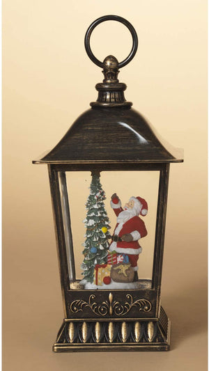 11-Inch Lighted Christmas Water Lantern with Santa Figurine – Holiday Snow Globe Decoration – Light Up Hanging or Tabletop Home Decor