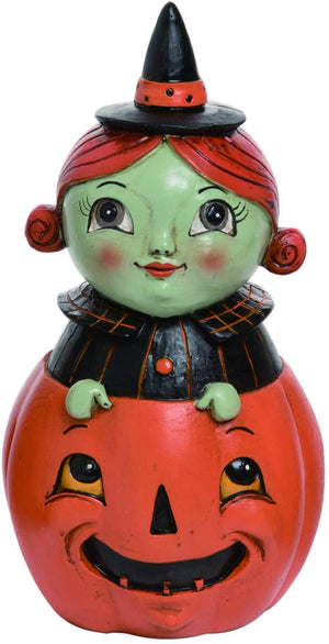 Vintage Halloween Character Figures Sitting in Pumpkins – Tabletop Halloween Decoration (Witch)