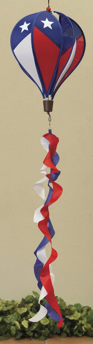 Patriotic American Hanging Hot Air Balloon Yard Spinner - Outdoor 4th of July Decoration (Large Star)