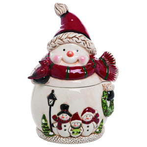Cheerful Snowman Cookie Jar – Tabletop Christmas Decoration