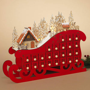 LED Lighted Red Wooden Bavarian Sleigh Advent Calendar - Christmas Countdown Decoration with 24 Storage Drawers