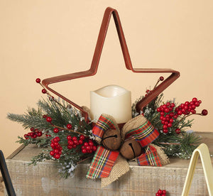 10-Inch Decorative Rustic Red Metal Star Christmas Votive Candle Holder with Greenery and LED Candle – Holiday Table Decoration – Winter Home Decor Accent