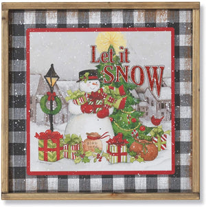 Rustic Holiday Snowman Let it Snow Sign with Wooden Frame – Country Christmas Wall Art Decoration – Farmhouse Winter Home Decor Accent