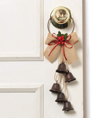 12.5-Inch Decorative Rustic Liberty Bell Christmas Door Knob Hanger with Burlap Ribbon and Holly Berry Accent - Indoor Outdoor Holiday Home Decor